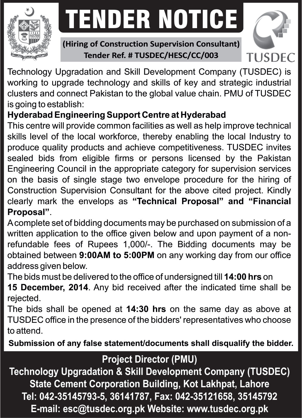 Tender Notice for Solar Lab